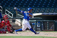 Kansas City Royals catcher Meibrys Viloria (19) follows through on his swing during an Instructional League game against the Cincinnati Reds on October 2, 2017 at Surprise Stadium in Surprise, Arizona. (Zachary Lucy/Four Seam Images)