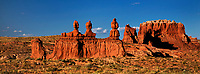 920950003 panoramic view of  pronghorn antelope antilocarpa americana graze near hoodoo formations in the high desert of goblin valley state park utah united states