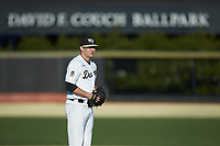 Wake Forest Demon Deacons starting pitcher Jared Shuster (14) looks to his catcher for the sign against the Louisville Cardinals at David F. Couch Ballpark on March 7, 2020 in  Winston-Salem, North Carolina. The Demon Deacons defeated the Cardinals 3-2. (Brian Westerholt/Four Seam Images)
