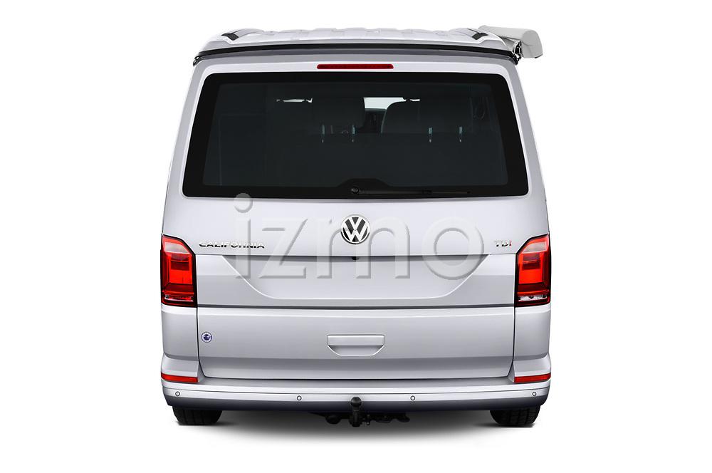 Straight rear view of a 2018 Volkswagen California Ocean 4 Door Passenger Van stock images