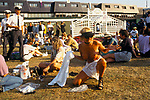 Wimbledon Lawn Tennis London, drunk female spectator goes topless, She was asked to leave by a security guard.  1993 1990s UK