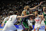 Real Madrid´s Rudy Fernandez and Unicaja´s Jayson Granger during 2014-15 Liga Endesa match between Real Madrid and Unicaja at Palacio de los Deportes stadium in Madrid, Spain. April 30, 2015. (ALTERPHOTOS/Luis Fernandez)
