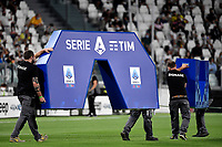 Signage addicts prepare the setup of the italian Serie A league setup during the Serie A 2021/2022 football match between Juventus FC and Empoli Calcio at Allianz stadium in Torino (Italy), August 28th, 2021. Photo Andrea Staccioli / Insidefoto