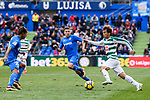 Takashi Inui of SD Eibar (R) in action against Portillo Soler of Getafe CF (C) during the La Liga 2017-18 match between Getafe CF and SD Eibar at Coliseum Alfonso Perez Stadium on 09 December 2017 in Getafe, Spain. Photo by Diego Souto / Power Sport Images