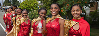 Girls Drill Team wearing red and gold sequin outfits, Independence Day Parade 2016, Burien, Washington, USA.