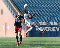 FOXBOROUGH, MA - JULY 25: USL League One (United Soccer League) match. Collin Verfurth #35 of New England Revolution II and Juan Ignacio Mare #22 of Union Omaha battle for head ball during a game between Union Omaha and New England Revolution II at Gillette Stadium on July 25, 2020 in Foxborough, Massachusetts.