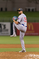 AFL East relief pitcher Bailey Clark (35), of the Mesa Solar Sox and Los Angeles Angels organization, delivers a pitch during the Fall Stars game at Surprise Stadium on November 3, 2018 in Surprise, Arizona. The AFL West defeated the AFL East 7-6 . (Zachary Lucy/Four Seam Images)