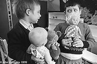 Boys with dolls, Vittoria Primary School, Islington, London.  1970.