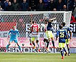 Nederland, Utrecht, 5 april 2015<br /> Eredivisie<br /> Seizoen 2014-2015<br /> FC Utrecht-Ajax (1-1)<br /> Gevero Markiet (4e van r.) van FC Utrecht maakt de gelijkmaker, 1-1. V.l.n.r.: Jasper Cillessen, Joel Veltman, Sebastien Haller, Gevero Markiet, Nick Viergever, Thulani Serero en Jairo Riedewald