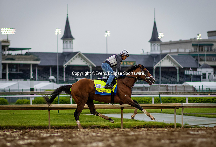 April 29, 2021: Mandaloun gallops in preparation for the Kentucky Derby at Churchill Downs in Louisville, Kentucky on April 29, 2021. EversEclipse Sportswire/CSM
