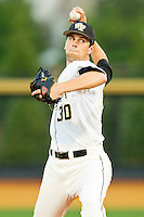Relief pitcher Justin Van Grouw #30 of the Wake Forest Demon Deacons in action against the Charlotte 49ers at Gene Hooks Field on March 22, 2011 in Winston-Salem, North Carolina.   Photo by Brian Westerholt / Four Seam Images