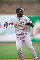 San Antonio Missions third baseman Duanel Jones (17) throws to first during a game against the NW Arkansas Naturals on May 30, 2015 at Arvest Ballpark in Springdale, Arkansas.  San Antonio defeated NW Arkansas 5-1.  (Mike Janes/Four Seam Images)