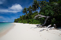 The pristine white sand beach at Majuro Atoll's Eneko Island,  in the Marshall Islands.