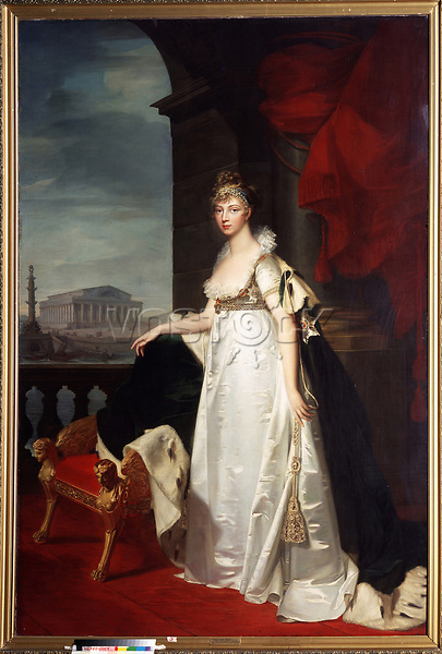 Portrait of Empress Elizabeth Alexeievna, Princess Louise of Baden (1779-1826)<br /> Artist:Mosnier, Jean Laurent(1743/44-1808)<br /> Museum:Regional Art Gallery, Tchelyabinsk<br /> Method:Oil on canvas<br /> Created:1805<br /> School:France<br /> Tsar's Family. House of Romanov<br /> Trend in art:Classicism