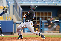 FCL Pirates Black Henry Davis (32) avoids a high and inside pitch in the top of the fifth inning during a game against the FCL Rays on August 3, 2021 at Charlotte Sports Park in Port Charlotte, Florida.  Davis was making his professional debut after being selected first overall in the MLB Draft out of Louisville by the Pittsburgh Pirates.  (Mike Janes/Four Seam Images)