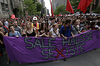 Montreal (Qc) CANADA - May 22, 2012 file photo -  about 120 000 Quebecers demonstrate peacefully in downtown Montreal to mark 100 days of student strike against the tuition fees hike imposed the Liberal Governement of Jean Charest.