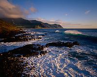Waves Breaking at Yokohama Bay, Oahu, Hawaii, USA.