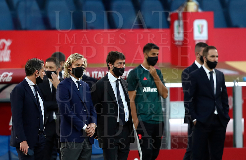 Juventus' vice-president Pavel Nedved and president Andrea Agnelli, wearing protective masks, wait for the start of the Italian Cup football final match between Napoli and Juventus at Rome's Olympic stadium, June 17, 2020. Napoli won 4-2 at the end of a penalty shootout following a scoreless draw.<br /> UPDATE IMAGES PRESS/Isabella Bonotto