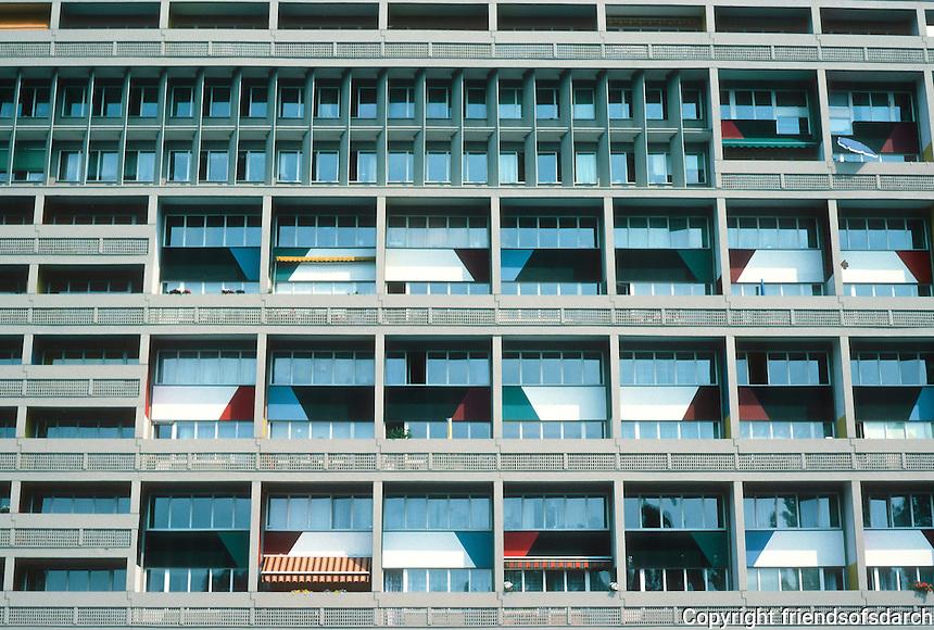 Le Corbusier: Unite D'Habitation, Berlin 1956,1957/58. Detail of windows.