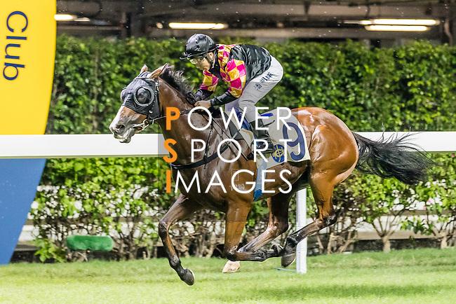 Jockey #9 Matthew Poon Ming-fai riding Le Pegase during Hong Kong Racing at Happy Valley Racecourse on on September 05, 2018 in Hong Kong, Hong Kong. Photo by Yu Chun Christopher Wong / Power Sport Images