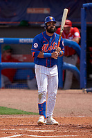 New York Mets Luis Guillorme (13) bats during a Major League Spring Training game against the Washington Nationals on March 18, 2021 at Clover Park in St. Lucie, Florida.  (Mike Janes/Four Seam Images)