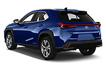 Car pictures of rear three quarter view of 2021 Lexus UX-300e Privilege 5 Door SUV Angular Rear