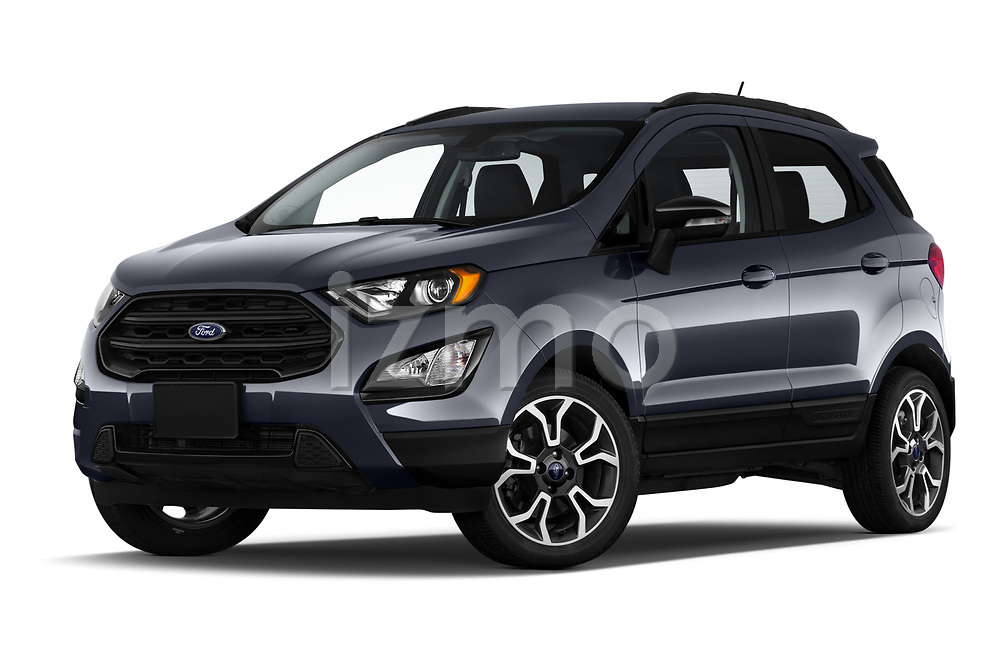 Stock pictures of low aggressive front three quarter view of a 2019 Ford EcoSport SES 5 Door SUV
