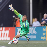 Foxborough, Massachusetts - July 18, 2015: First half action. In a Major League Soccer (MLS) match, the New England Revolution (red) vs New York City FC (blue), 1-0 (halftime), at Gillette Stadium.Josh Saunders fails to make the save.