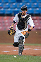 Catcher Logan Johnson #18 chases down a foul ball at Wake Forest Baseball Stadium May 8, 2009 in Winston-Salem, North Carolina. (Photo by Brian Westerholt / Four Seam Images)