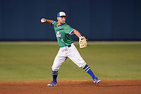 Florida Gulf Coast Eagles shortstop Jacob Lojewski (4) throws to first base during an NCAA game against the Miami Hurricanes on March 17, 2021 at Swanson Stadium in Fort Myers, Florida.  (Mike Janes/Four Seam Images)