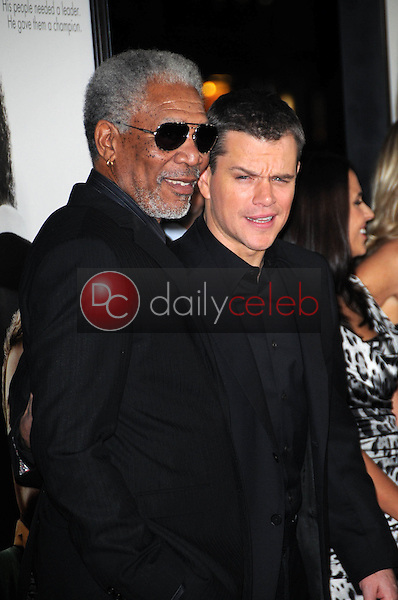 """Morgan Freeman and Matt Damon<br /> at the """"Invictus"""" Los Angeles Premiere, Academy of Motion Picture Arts and Sciences, Beverly Hills, CA.  12-03-09<br /> David Edwards/Dailyceleb.com 818-249-4998"""
