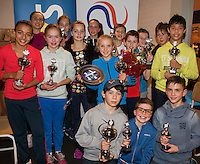 Almere, Netherlands, December 6, 2015, Winter Youth Circuit, winners boys and girls 12 years<br /> Photo: Tennisimages/Henk Koster