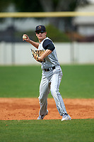 St. Olaf Oles shortstop Kap Davis (6) during the first game of a doubleheader against the Union Dutchmen on February 20, 2016 at Lake Myrtle Park in Auburndale, Florida.  Union defeated St. Olaf 7-2.  (Mike Janes/Four Seam Images)
