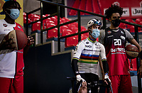 World Champion Julian Alaphilippe (FRA/Deceuninck - QuickStep) introduced during the team presentation inside the empty Spirou Basketbal Dome in Charleroi<br /> <br /> 85th La Flèche Wallonne 2021 (1.UWT)<br /> 1 day race from Charleroi to the Mur de Huy (BEL): 194km<br /> <br /> ©kramon