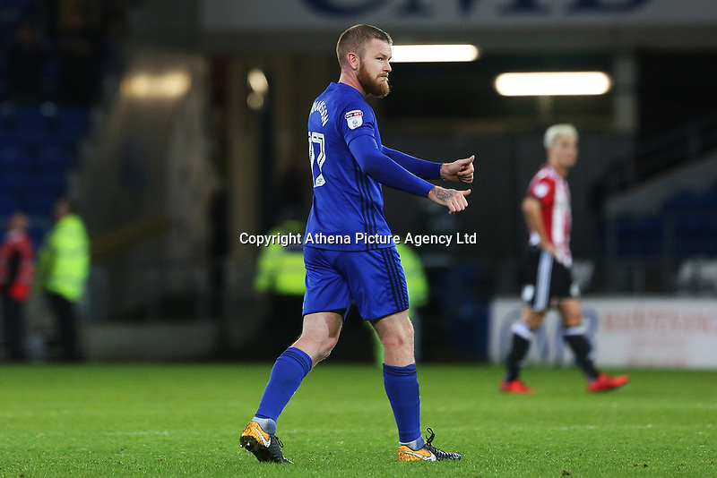 Aron Gunnarsson of Cardiff City after the final whistle of the Sky Bet Championship match between Cardiff City and Brentford at the Cardiff City Stadium, Wales, UK. Saturday 18 November 2017