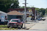 USA, Nebraska, Omaha Reservation, town Walthill, fuel station and Casino Lucky 77