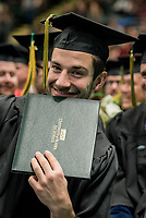 Chase P. Van Allen (?) at UAA's Fall 2018 Commencement Ceremony at the Alaska Airlines Center.