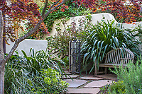 Phormium cookianum by bench on patio leading to secret garden room, McAvoy Garden - Northern California summer-dry garden; Ground Studio Landscape Architecture