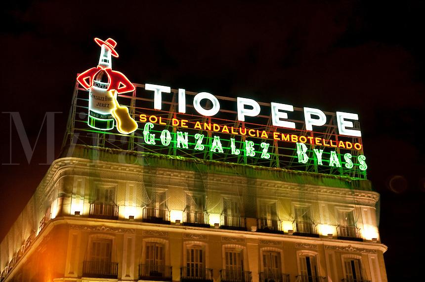 Tio Pepe sign, Puerta del Sol, Madrid, Spain
