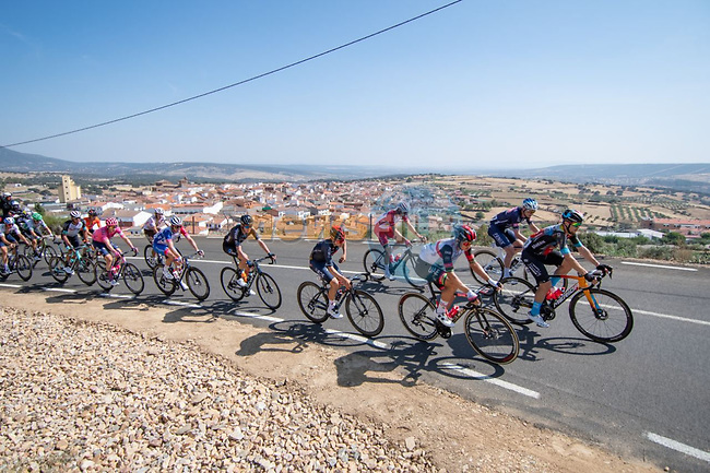The 18 man breakaway during Stage 14 of La Vuelta d'Espana 2021, running 165.7km from Don Benito to Pico Villuercas, Spain. 28th August 2021.     <br /> Picture: Cxcling | Cyclefile<br /> <br /> All photos usage must carry mandatory copyright credit (© Cyclefile | Cxcling)