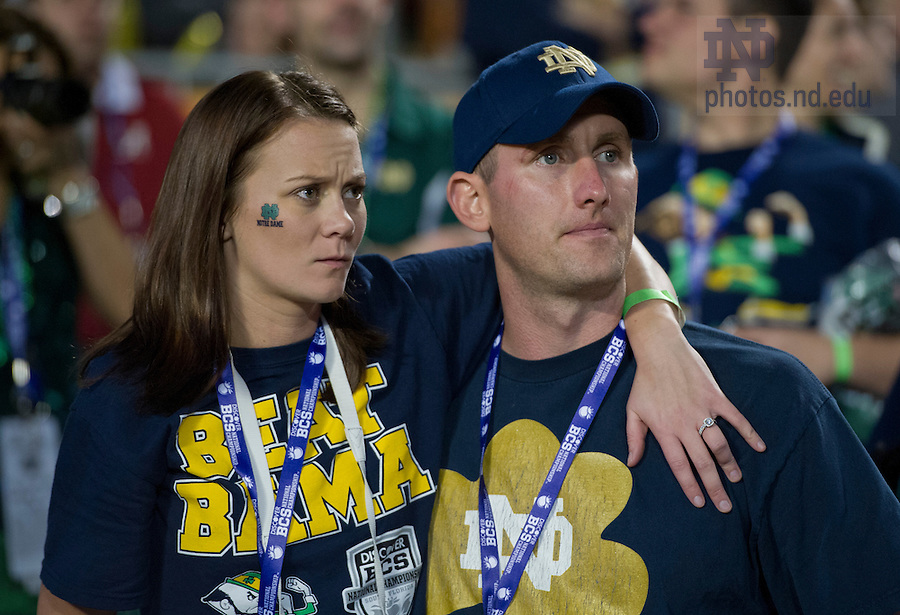 Jan. 7, 2013; Notre Dame fans watch the last minutes of the game against Alabama in the 2013 BCS National Championship in Miami, Florida. Alabama defeated Notre Dame 42 to 14. Photo by Barbara Johnston/University of Notre Dame