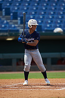 Harry Ford (20) of North Cobb HS in Kennesaw, GA playing for the Milwaukee Brewers scout team  during the East Coast Pro Showcase at the Hoover Met Complex on August 2, 2020 in Hoover, AL. (Brian Westerholt/Four Seam Images)