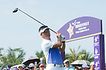 Man Wenjun tees off the 1st hole during the World Celebrity Pro-Am 2016 Mission Hills China Golf Tournament on 22 October 2016, in Haikou, China. Photo by Marcio Machado / Power Sport Images