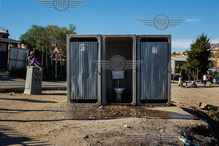 Community latrines in the township Station 11 in Villiersdorp, near the Theewaterskloof reservoir. In early 2018, when the dam's water was predicted to decline to critically low levels, the city announced plans for 'Day Zero', when the municipal water supply would largely be shut off, potentially making Cape Town the first major city in world to run out of water. However, strict rationing staved off 'Zero Day' until the winter 2018 rainy season ended a three year drought and replenished the reservoir sufficiently to enable the city authorities to ease the water ration.