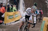 """CX World Champion Sanne Cant (BEL/Iko-Beobank) in the infamous """"Pit""""<br /> <br /> Superprestige Zonhoven (BEL) 2018"""