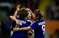 Homare Sawa, Aya Miyama, Nahomi Kawasumi.  Japan won the FIFA Women's World Cup on penalty kicks after tying the United States, 2-2, in extra time at FIFA Women's World Cup Stadium in Frankfurt Germany.