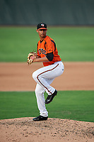 Bowie Baysox relief pitcher Branden Kline (24) delivers a pitch during the first game of a doubleheader against the Trenton Thunder on June 13, 2018 at Prince George's Stadium in Bowie, Maryland.  Trenton defeated Bowie 4-3.  (Mike Janes/Four Seam Images)