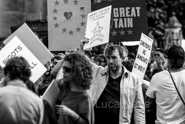 """02.07.2016 - """"March For Europe - #MarchForEurope"""".<br /> <br /> London, March-July 2016. Reporting the EU Referendum 2016 (Campaign, result and outcomes) observed through the eyes (and the lenses) of an Italian freelance photojournalist (UK and IFJ Press Cards holder) based in the British Capital with no """"press accreditation"""" and no timetable of the main political parties' events in support of the RemaIN Campaign or the Leave the EU Campaign.<br /> On the 23rd of June 2016 the British people voted in the EU Referendum... (Please find the caption on PDF at the beginning of the Reportage).<br /> <br /> For more photos and information about this event please click here: http://lucaneve.photoshelter.com/gallery/02-07-2016-March-For-Europe-MarchForEurope/G0000LxE7Mug.C2M/C0000GPpTqAGd2Gg<br /> <br /> For more information about the result please click here: http://www.bbc.co.uk/news/politics/eu_referendum/results"""