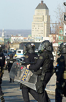 April 2001 File Photo,Quebec City, Quebec, Canada; <br /> <br /> Canadian Royal Mounted Policemen (GendarmerievRoyale du Canada) in  riot gear walk inside the security perimeter during the Quebec Summit of the Americas   <br /> (Mandatory Credit: Photo by Pierre Roussel - Images Distribution (©) Copyright 2001 by Pierre Roussel<br /> <br /> NOTE :  D-1  original JPEG, saved as Adobe 1998 RGB.