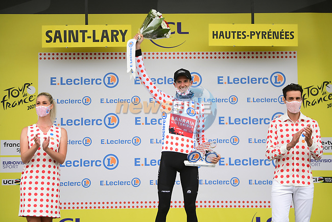 Wout Poels (NED) Bahrain Victorious retains the mountains Polka Dot Jersey at the end of Stage 17 of the 2021 Tour de France, running 178.4km from Muret to Saint-Lary-Soulan Col du Portet, France. 14th July 2021.  <br /> Picture: A.S.O./Pauline Ballet   Cyclefile<br /> <br /> All photos usage must carry mandatory copyright credit (© Cyclefile   A.S.O./Pauline Ballet)